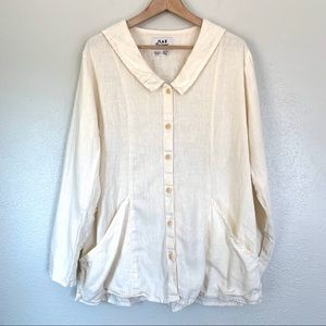 Flax white/cream linen long sleeve button down top